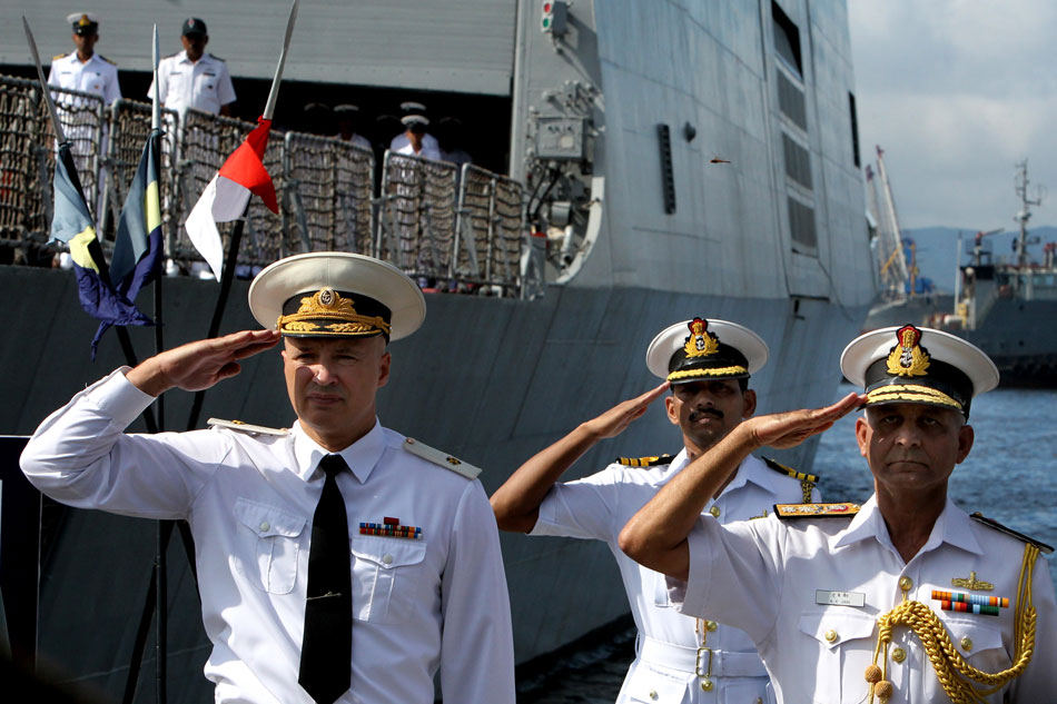 Foreground, from right: Rear Admiral Atul Kumar Jain and Rear Admiral Andrei Ryabukhin during the welcoming ceremony for the Indian Navy's warships.