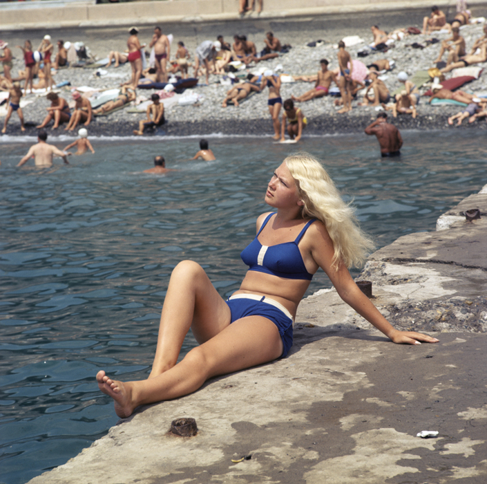 Städtischer Strand in Sotschi, 1970.