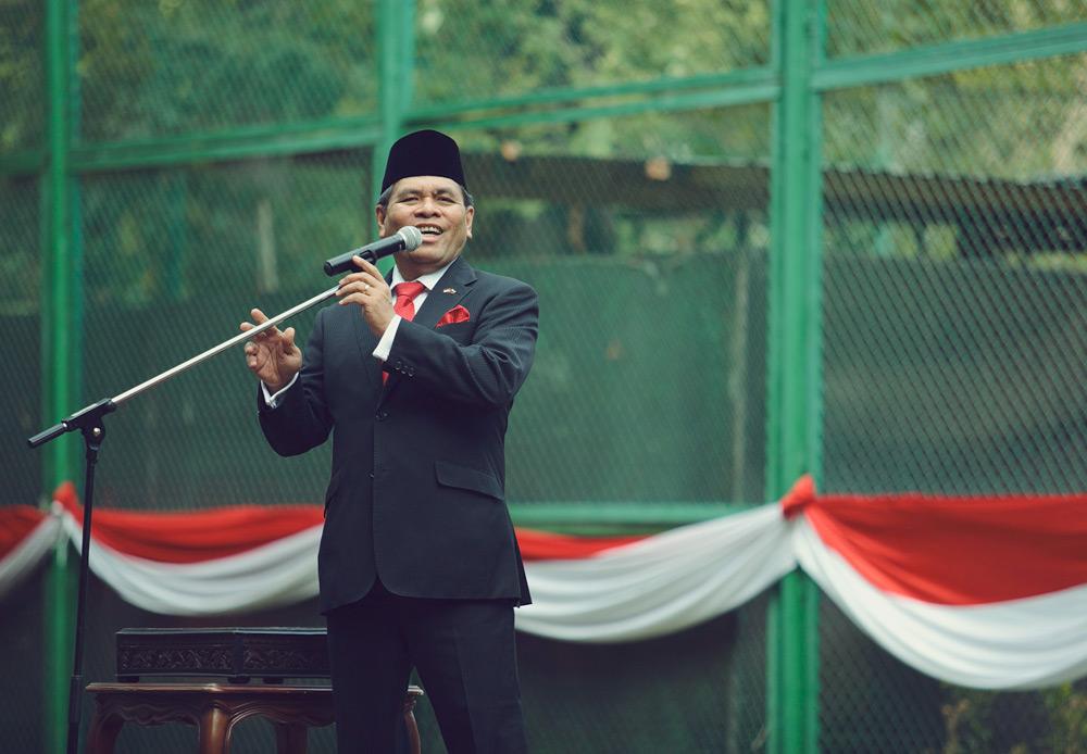 Dubes Djauhari Oratmangun menyampaikan dalam pidatonya bahwa kemerdekaan Indonesia yang diperoleh 69 tahun lalu bukan merupakan pemberian penjajah tetapi merupakan perjuangan pahlawan Indonesia. Oleh karena itu, seluruh masyarakat Indonesia harus berperan aktif dalam menjaga kemerdekaan tersebut.