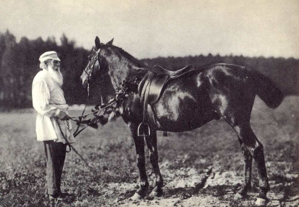 """The two most powerful warriors are patience and time"" /1908, Leo Tolstoy and his horse Delir"