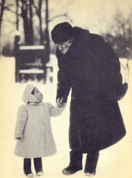 """Faith is the sense of life, that sense by virtue of which man does not destroy himself, but continues to live on. It is the force whereby we live."" / 1908, Leo Tolstoy with his granddaughter, Tatiana"
