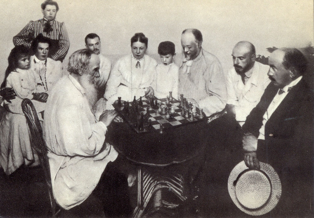 """When you love someone, you love the person as they are, and not as you'd like them to be."" / 1908, Yasnaya Polyana, Leo Tolstoy playing chess with a family friend"