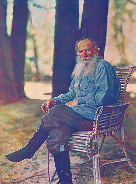 """If I were asked for the most important advice I could give, that which I considered to be the most useful to the men of our century, I would simply say: in the name of God, stop a moment, cease your work, look around you."" / 1908, Leo Tolstoy in front of his country house"
