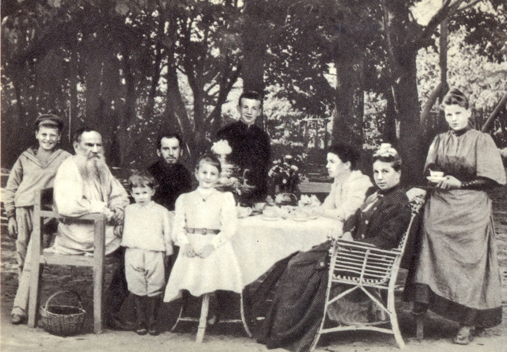 """Truth, like gold, is to be obtained not by its growth, but by washing away from it all that is not gold. ""/ 1892, Leo Tolstoy with his family at tea in a park"
