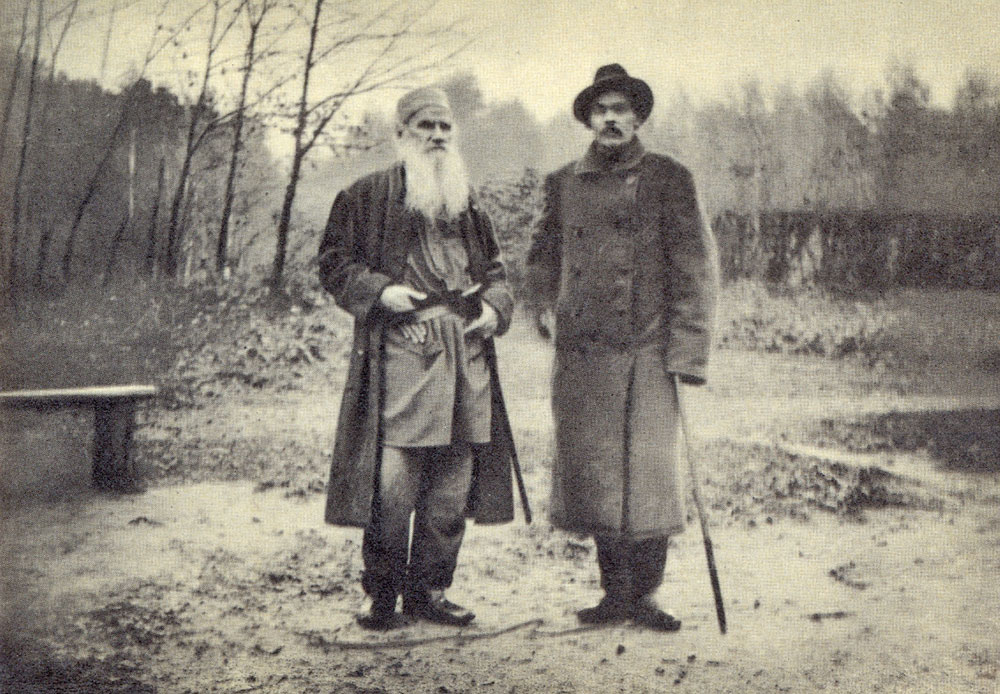 """If you look for perfection, you'll never be content."" / 1900 Leo Tolstoy and Maxim Gorky, the famous Russian writer from the early 20th century"