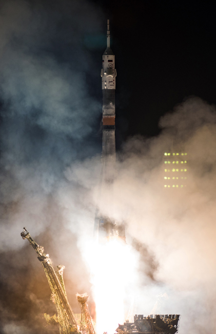 During liftoff, the cosmonauts feel up to 7 kg heavier.