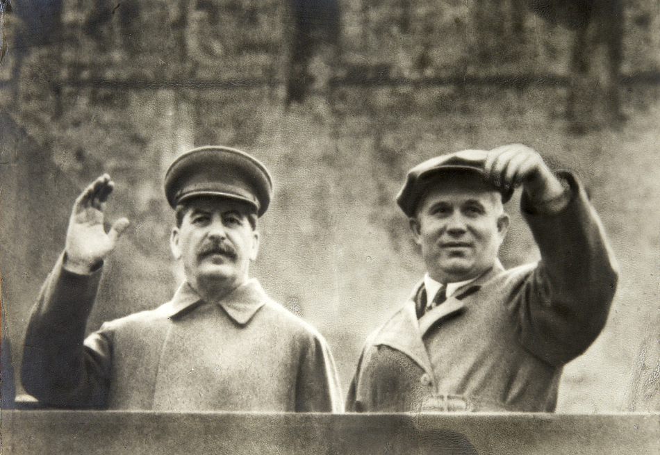 3. Do not cultivate the leaders of your country (After Stalin's death Khrushchev denounced Stalin, the cult of personality he had fostered and the crimes he had perpetrated) // Joseph Stalin and Nikita Khrushchev on the tribune of Lenin's Mausoleum, Moscow, Soviet Union, c1935-c1937.