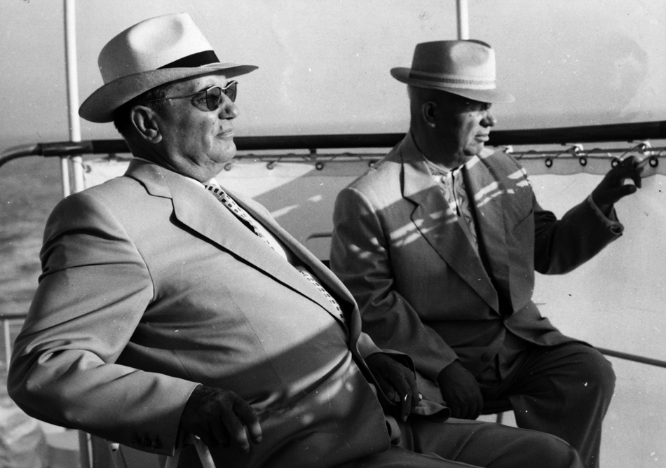 4. Dress like a character from Mad Men // Soviet premier Nikita Khrushchev (right) and Yugoslavian president Josip Tito on the ship Podgorka on a sightseeing tour along the Istrian coast.