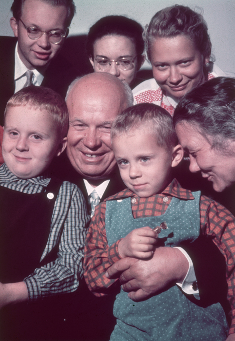 5. Give a hug to your family members every day. // Portrait of Soviet premier Nikita Khrushchev smiling while posing with a group of children and some adults, possibly members of his family, Soviet Union, 1962.