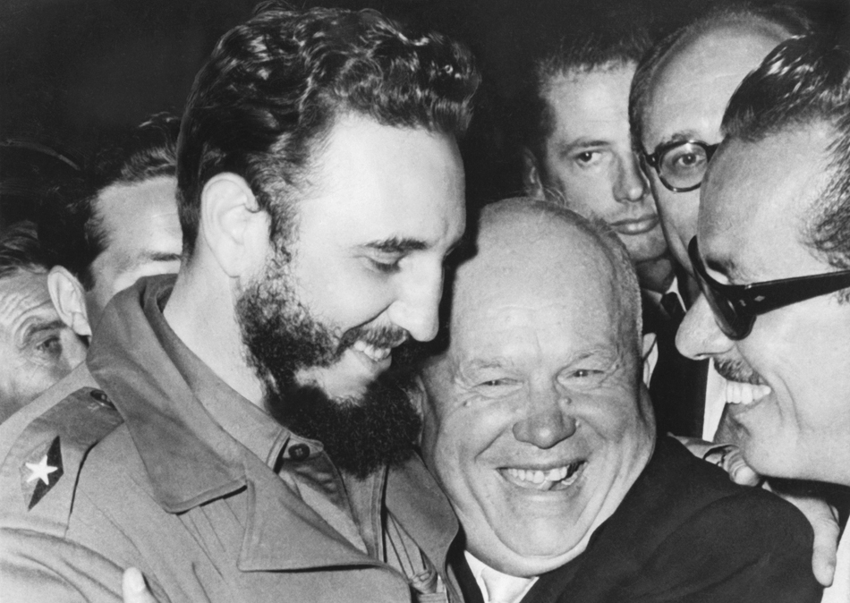 6. And to your friends from time to time. // A jovial greeting takes place between Cuba's Prime Minister Fidel Castro and the Soviet Union's Premier Nikita Khrushchev when they met at the United Nations, New York, September 20, 1960.