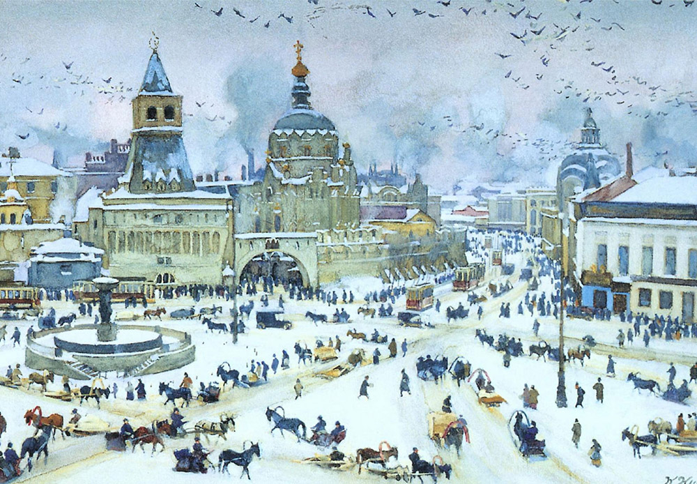 モスクワは、教会、歴史的建造物、幅広い通りや隠れた中庭などの美しさに満ちているため、画家にとって常に創造性を刺激する源であり続けた。画家たちは、それぞれ独自の方法で自らの作品にその美を表現した。/ 『冬のルビャンスカヤ広場』、コンスタンティン・ユオン、1905年