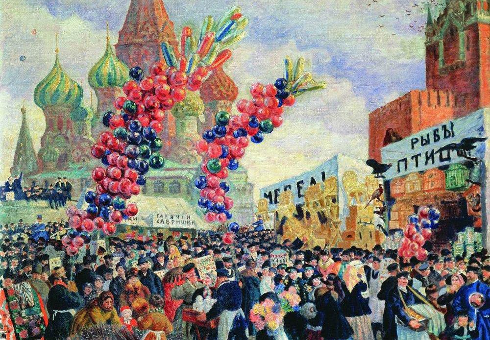 1909年、ボリス・クストーディエフは脊髄膿瘍の診断を受けた。その後15年にわたり、この画家は車椅子で生活し、横たわって描くことを余儀なくされた。この困難な時期こそ、彼が最も明るく、最も個性の強い、陽気な作品を描いた時期でもある。/ 『モスクワ赤の広場のスパスキエ門近くでの聖枝祭』、ボリス・クストーディエフ、1917年