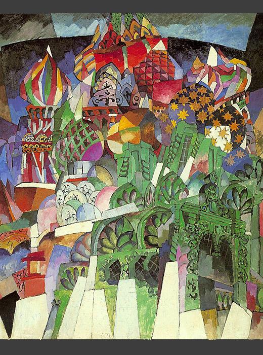 """Kazimir Malevič, osnivač suprematizma i autor poznate slike """"Crni kvadrat"""", preselio se u Moskvu sa suprugom i djecom nakon smrti majke. Preseljenje nije usrećilo obitelj. Supruga je nedugo po dolasku uzela djecu i napustila grad, nakon čega su se i razveli. Malevič je štovateljima najpoznatiji kao autor slika """"Crveni kvadrat, crni kvadrat"""", """"Crni krug"""" i """"Juriš crvene konjice"""". Pored toga slikao je i manje poznata, klasična djela. / Pogled na Mjasnički okrug u Moskvi, Kazimir Malevič, 1913."""