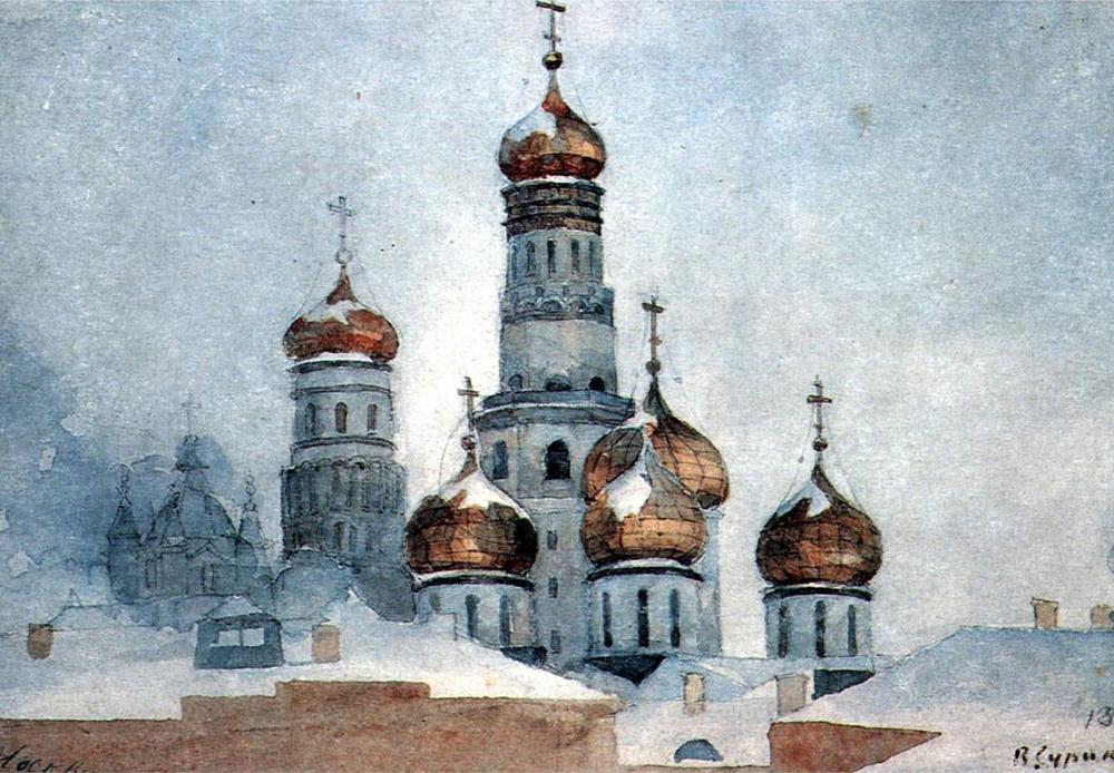 ヴァシーリー・スリコフは、作品を描く際に、その構成に細心の注意を払う画家だったので、同業者の間で「作曲家」というあだ名をつけられた。/ 『イヴァン大帝の鐘楼』、ヴァシーリー・スリコフ、1876年