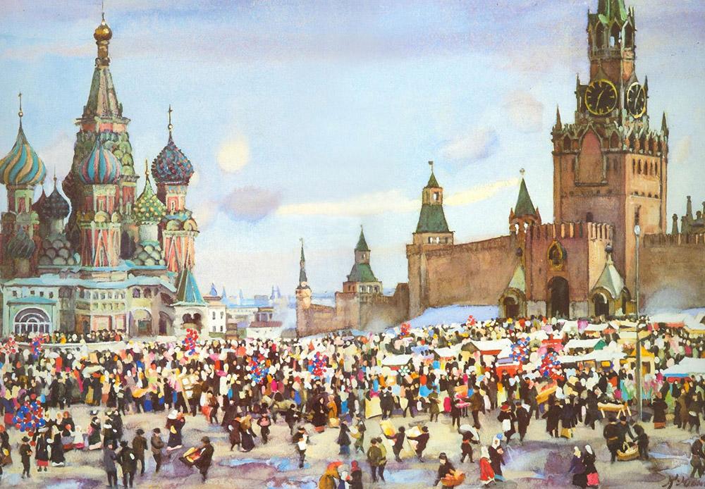 画家のコンスタンティン・ユオンは、風景画を自らの真の天職とみなした。彼の作品には、明らかにフランスの印象派の影響が見受けられるが、19世紀ロシア写実主義の独創性も備えている。/ 『赤の広場の聖枝祭(棕櫚の主日)のバザール』、コンスタンティン・ユオン、1916年