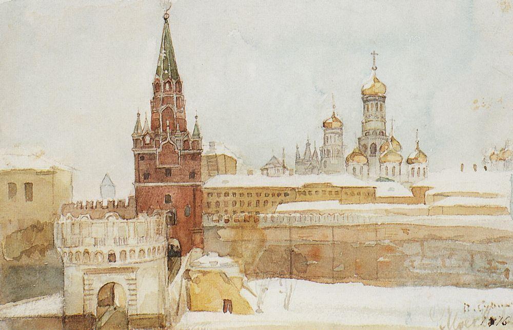 ヴァシーリー・スリコフはクラスノヤルスクで生まれ、その先祖はドン・コサックに遡る。彼は、救世主ハリストス大聖堂のフレスコの作業が実施された1876年にモスクワに引っ越した。クラスノヤルスクに戻ることを夢見たが、この故郷を慕う気持ちのために、彼が美しいモスクワの光景を描くことを止めることはなかった。その1つの例が、冬のクレムリンの風景画 (1876年) である。