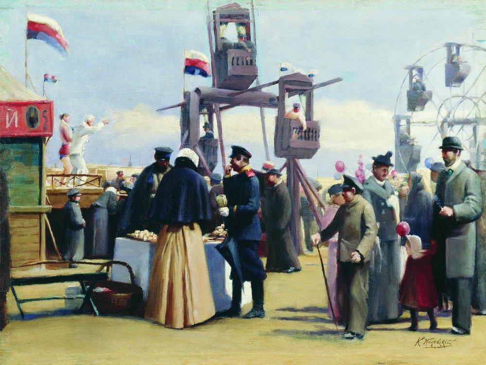 コンスタンティン・マコフスキーは、モスクワの美術との縁が深い家庭で生まれ育った。駆け出し時当初の彼の絵画はロマン主義に傾倒していたが、数年後にはそのスタイルは写実主義へと移行していた。マコフスキーは画家のワークショップに参加し、モスクワ市民の日常生活を描き始めた。/ 『モスクワの見世物小屋』、コンスタンティン・マコフスキー