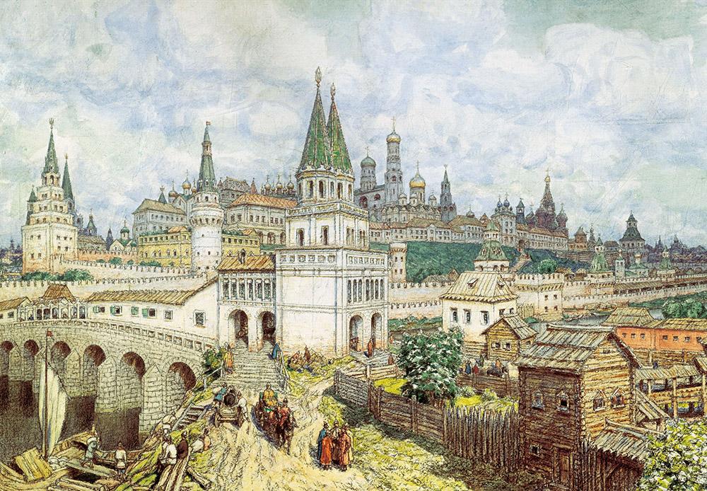 アポリナリー・ヴァスネツォフは、中世モスクワの習作という注文を受けてこれを率いる他、考古学的な発掘にも携わった。彼は、ザモスクヴォレチエ地区をクレムリンとつなぐ衆聖人の橋を描いた。この橋は、モスクワの絶景のひとつに数えられていた。この橋がかけられたのは1693年のことで、1853年までの短い期間しか存在しなかった。/ 『クレムリンの絶景』。17世紀末の衆聖人の橋とクレムリン。アポリナリー・ヴァスネツォフ