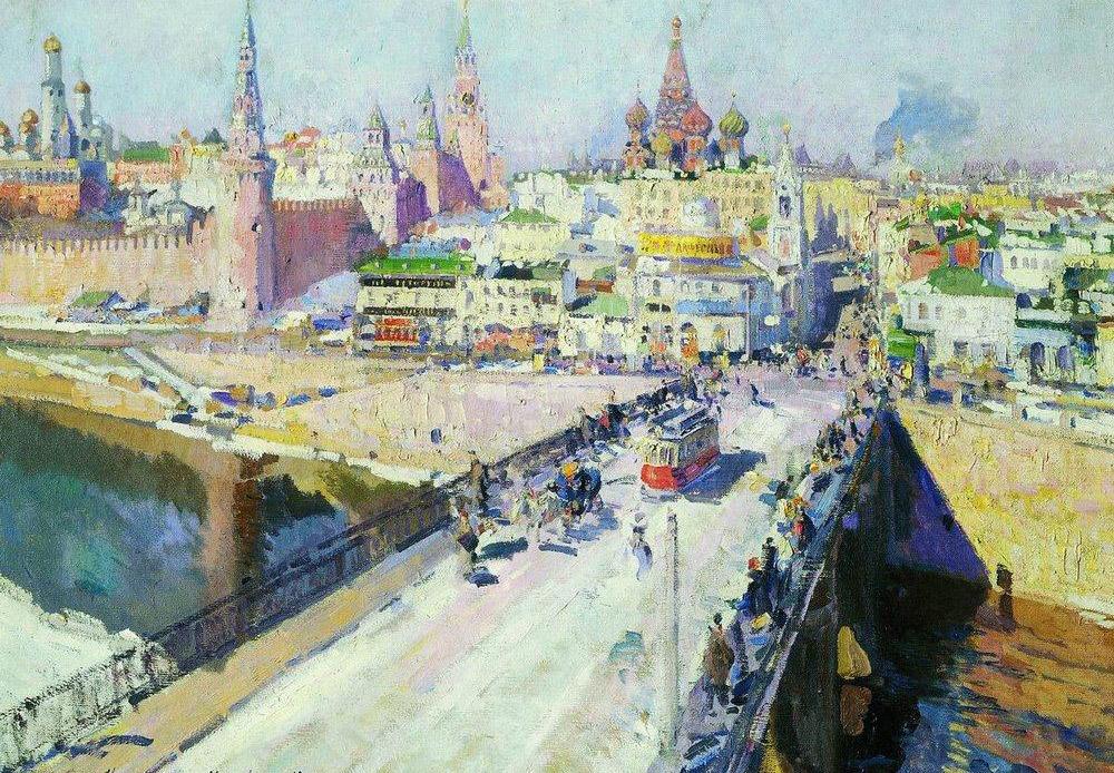 Borisu Kustodievu otkrivena je upala leđne moždine 1909. Tijekom sljedećih 15 godina umjetnik je bio osuđen na invalidska kolica, a slikao je ležeći. U ovom teškom razdoblju naslikao je svoja najradosnija, najtemperamentija i najveselija djela. / Cvjetnica kod vrata Spasiteljeve kule na Crvenom trgu u Moskvi, Boris Kustodiev, 1917.