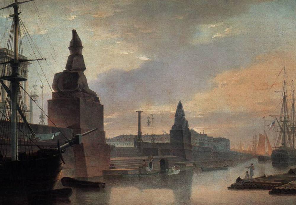 ロシア帝国美術アカデミーはピョートル大帝により1724年に設立され、今日では、歴史的に重要な作品や遺跡を修復する技術を学生に教えるほか、他の都市のプロジェクトにも関与している。例えば、モスクワの救世主ハリストス大聖堂を再建するプロジェクトなどだ。/ サンクトペテルブルク帝国美術アカデミー前の埠頭に並ぶスフィンクス、1835年、マクシム・ヴォロビヨフ