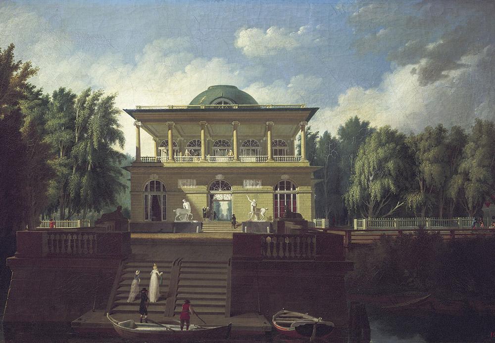ストロガノフ・ダーチャは、パーヴェル・ストロガノフ伯爵が所有するサンクトペテルブルクの地所だった(同家はサンクトペテルブルクの多くの裕福な商人や地主を輩出した)。この屋敷からボルシャヤ・ネフカ川までは、ライオンやケンタウロスの彫刻で飾られた花崗岩の階段によってつながれていた。二階は木造で、その中央部には川と平行して作られた広間があり、ここで舞踏会や集会が催された。サンクトペテルブルクのストロガノフ・ダーチャの眺め、1797年、アンドレイ・ヴォローヒン