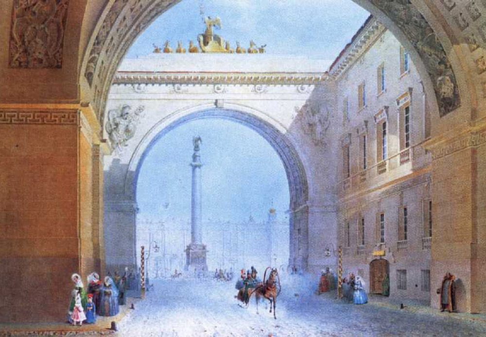 ロシア帝国の参謀本部は、サンクトペテルブルクの宮殿広場にある建物内に所在したが、それはかつて冬宮殿(現エルミタージュ美術館)があった場所の近くである。宮殿の両翼は、6頭の馬に牽引され、そびえ立つ馬車の彫刻が施されたアーチでつながっている。/参謀本部の建物のアーチ、ヴァシリー・サドフニコフ