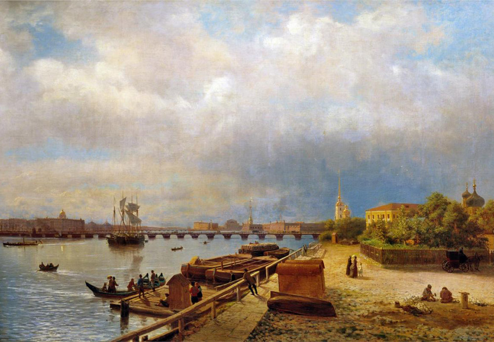 The Peter and Paul Fortress laid the foundation of Peter the Great's city on May 16, 1703. This date is considered the birthday of St. Petersburg. It is now the location of the city's State Museum. / View of the Neva and the Peter and Paul Fortress, 1859, Lev Langorio