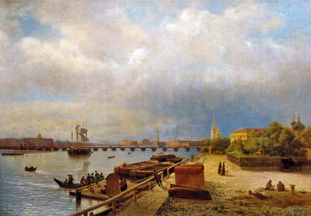 ペトロパヴロフスク要塞は、1703年5月16日にピョートル大帝が設立した都市の基礎となった。この日付は、サンクトペテルブルク誕生の日とみなされている。現在は、サンクトペテルブルク市の国立歴史博物館の所在地になっている。/ ネヴァ川とペトロパヴロフスク要塞の眺め、1859年、レフ・ランゴリオ