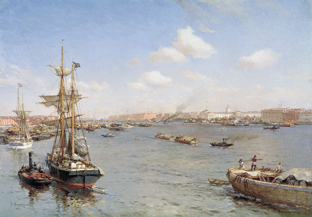 St. Petersburg was built as a sea port. All buildings and municipal regions were required to provide maximum accessibility for water transport. Before the construction of the St. Petersburg-Moscow railway in 1851, journeys to and from the capital were predominantly via the Neva. / Petersburg view of the Neva, 1912, Alexander Beggrov