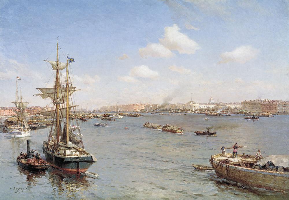 サンクトペテルブルクは海の港として建造された。すべての建物や市内の地域は、最大限のアクセスを水上輸送手段に提供することが求められた。1851年にサンクトペテルブルク・モスクワ間の鉄道が開通する以前の首都との主な交通手段は、ネヴァ川を使ったものだった。/ ペテルブルクのネヴァ川の光景、1912年、アレクサンドル・べグロフ
