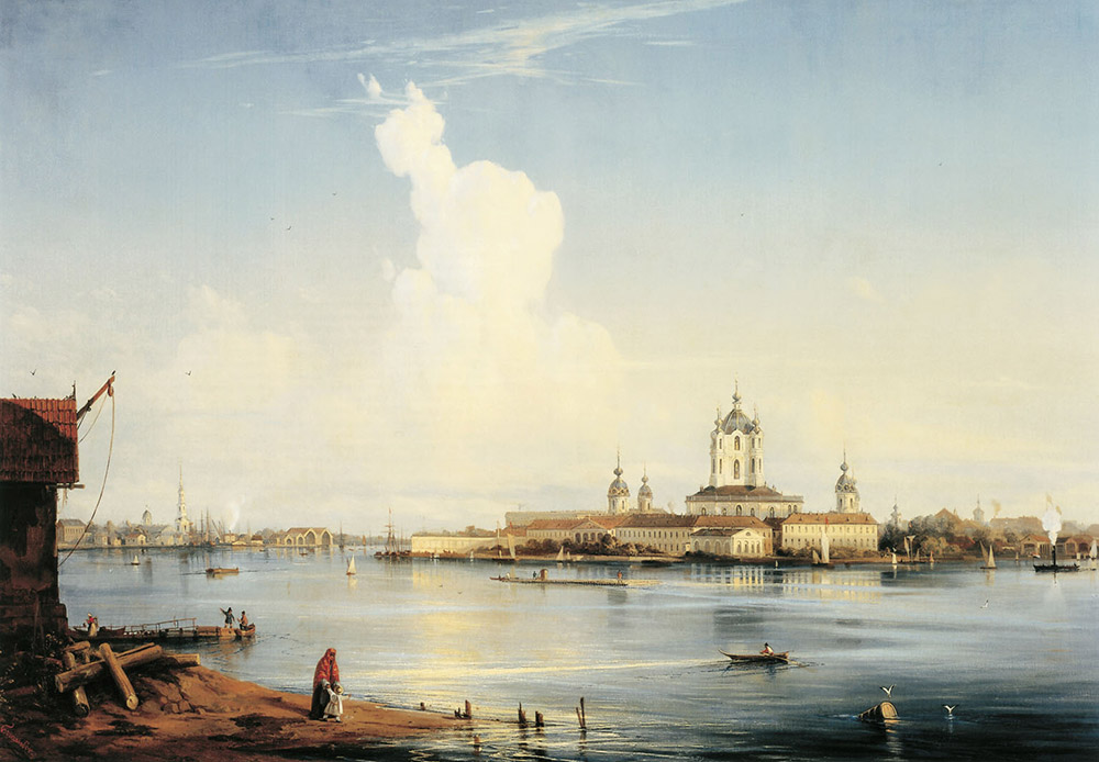 スモーリヌイ大聖堂の眺め。1740年に、エリザヴェータ女帝は、スモーリヌイ邸の敷地内に修道院を建立するよう命じた。この宮殿は彼女が幼少期を過ごした場所である。このプロジェクトはバルトロメオ・ラストレリという名の、イタリア系のロシア人建築家に委ねられた。/ ボルシャヤ・オフタから見たスモーリヌイ、1852年。アレクセイ・ボゴリュボフ