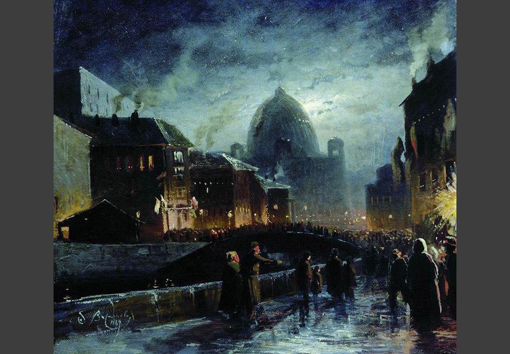 ロシアで最初の街灯はサンクトペテルブルクに設置された。この出来事は1706年11月23日のことだ。それ以降、大きな祭典の際には必ず、市内の4つの主要な通りに面する建物の正面にランタンが吊るされるようになった。/ 照明がつけられたサンクトペテルブルク、フョードル・ヴァシーリエフ