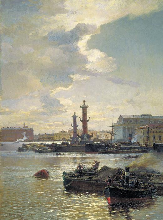 この都市は、フィンランド湾に面したネヴァ川の河口にあたる沼地に建てられた。各種の資料によると、サンクトペテルブルクの300年の歴史で約300回の洪水が記録されている。/ サンクトペテルブルクの荷船、1891年、アレクサンドル・ベグロフ