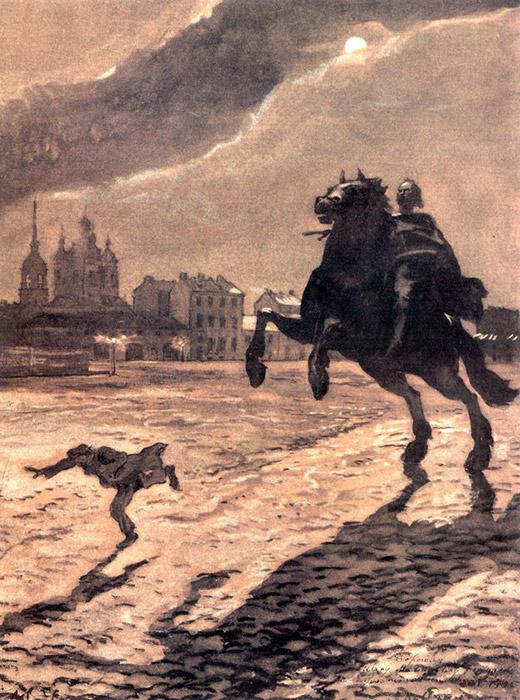 アレクサンドル・ベノワは、サンクトペテルブルクにあるピョートル大帝の偉業を称えた騎馬像を題材とする、アレクサンドル・プーシキンの叙事詩『青銅の騎士』のためにこのイラストを制作した。青銅の騎士すなわちピョートル大帝像が生き返り、主人公が逃げる地面上に、背後の満月が長く恐ろしい影を投げかけている。/ プーシキンの叙事詩の表紙に使用された青銅の騎士のデザイン、アレクサンドル・ベノワ