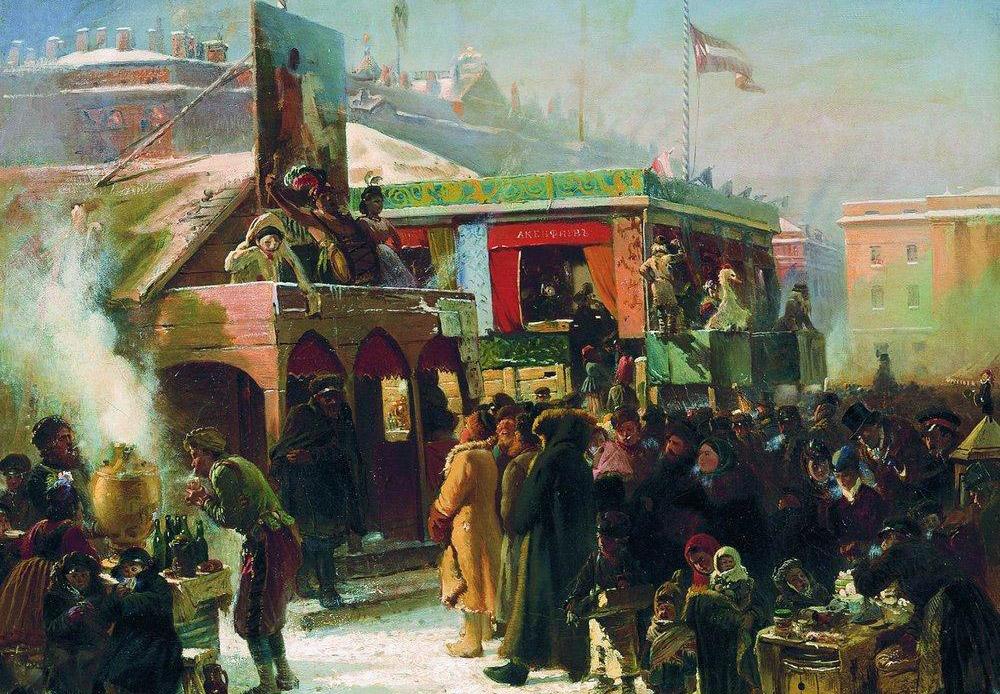 マースレニツァ(冬送りの伝統のカーニバル)に海軍省広場で行われる庶民の祭り。広場は1822年から1874年まで存在し、市のすべての休日の祝祭はここで開催された。この都市の創設者であるピョートル大帝の生誕200周年を記念して、広場は手入れの行き届いた庭園に模様替えされた。こうして広場はアドミラルティ・プロスペクトになった。/ サンクトペテルブルク海軍省広場の縁日の見世物、1869年、コンスタンティン・マコフスキー