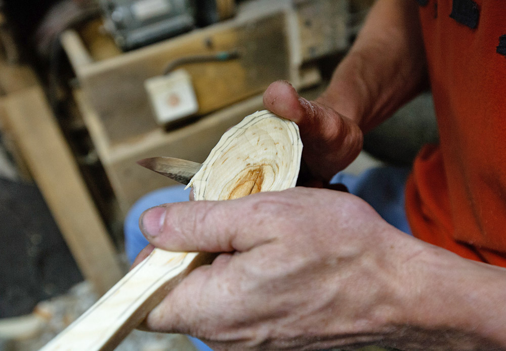 An apprentice can do all the work up to this stage. After another 10 minutes of fine tuning it with a knife, you have a perfectly good spoon to eat with. This is where the master steps in. The spoon shouldn't just be functional; it has to be beautiful, as well.