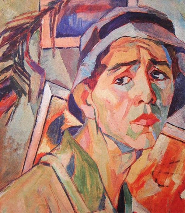 アレクサンドル・デイネカは、1899年5月20日クルスクに生まれ、モスクワの「国立高等美術工芸工房」(ブフテマス)で教育を受けた。デイネカの学生時代の絵には人物像が多い。彼は肉体的で表現豊かなものが好きだった。 // パナマ帽を被った自画像