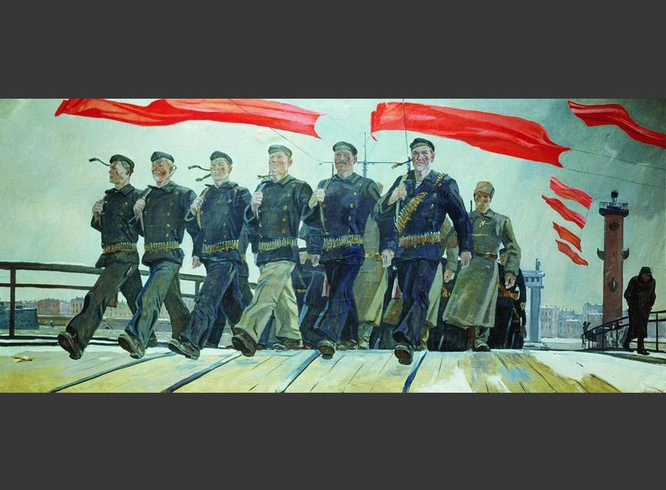 """Още като студент Дейнека се запознава с една от най-емблематичните фигури на съветското изкуство – поета Маяковски. Дейнека дори може да бъде описан образно като """"Маяковски на изобразителното изкуство"""". И двамата са вдъхновени от вярата в революцията, любовта към пролетариата и възхищението от физическото здраве на човека. Една от най-добрите картини на Дейнека е кръстена на великия поет Маяковски. / """"Ляв марш"""", 1941 г."""