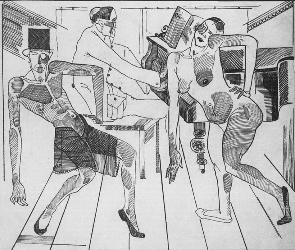 """Важна роля за формирането на художествения стил на Дейнека изиграват европейските майстори. Например известният рисунък на Матис се усеща ясно в тази гравюра. След като завърша висшето си образование, той и другарите му основават ОСТ, общност от художници и артисти, и решават да смесят най-новите европейски тенденции (особено експресионизма) със съветската тематика, като прокламират """"фокус върху младите художници"""". / """"Вариететен танц"""", 1923 г."""