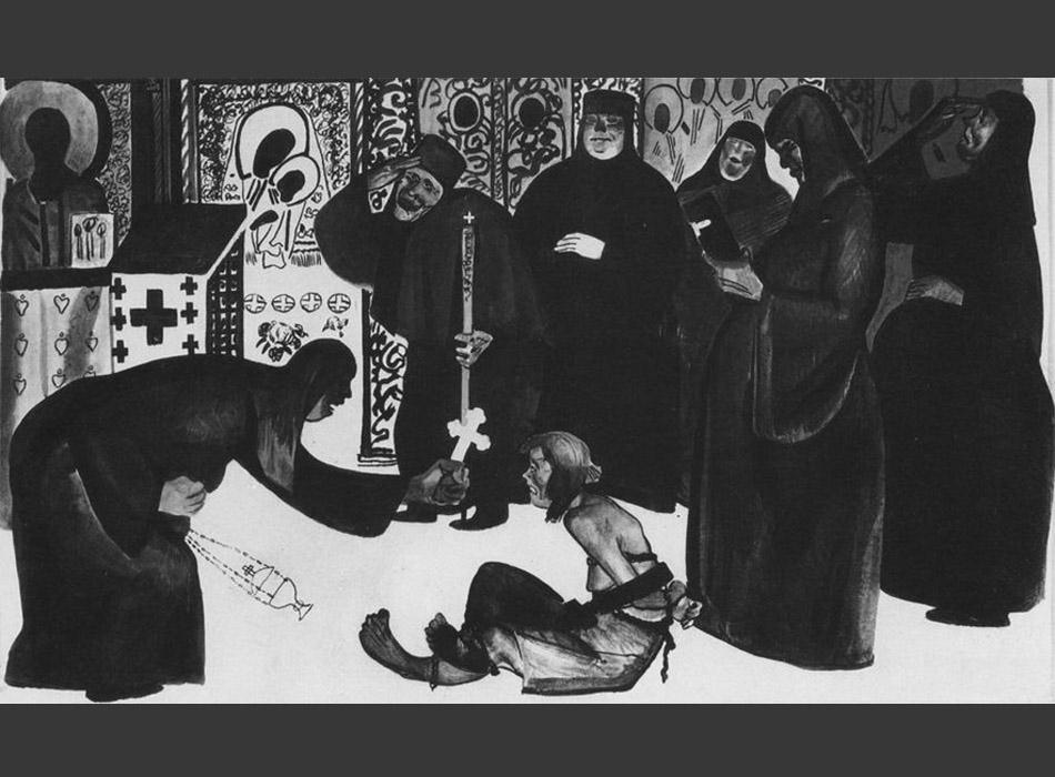 その後、雑誌とのコラボレーションが始まった。彼の風刺画の多くは、クラーク(訳注:20世紀前半のロシア帝国やソビエト連邦国内における自営農家の総称)、干渉主義者、商人、ブルジョワや革命前の時代を懐かしむ貴婦人など、プロレタリア階級の敵を揶揄した。同時に、これらの絵は人々に無神論を広め、宗教的先入観に対抗する為でもあった。デイネカの描く神父やヤブ医者は非常に的を得ていた。 // ヤブ医者 1925年
