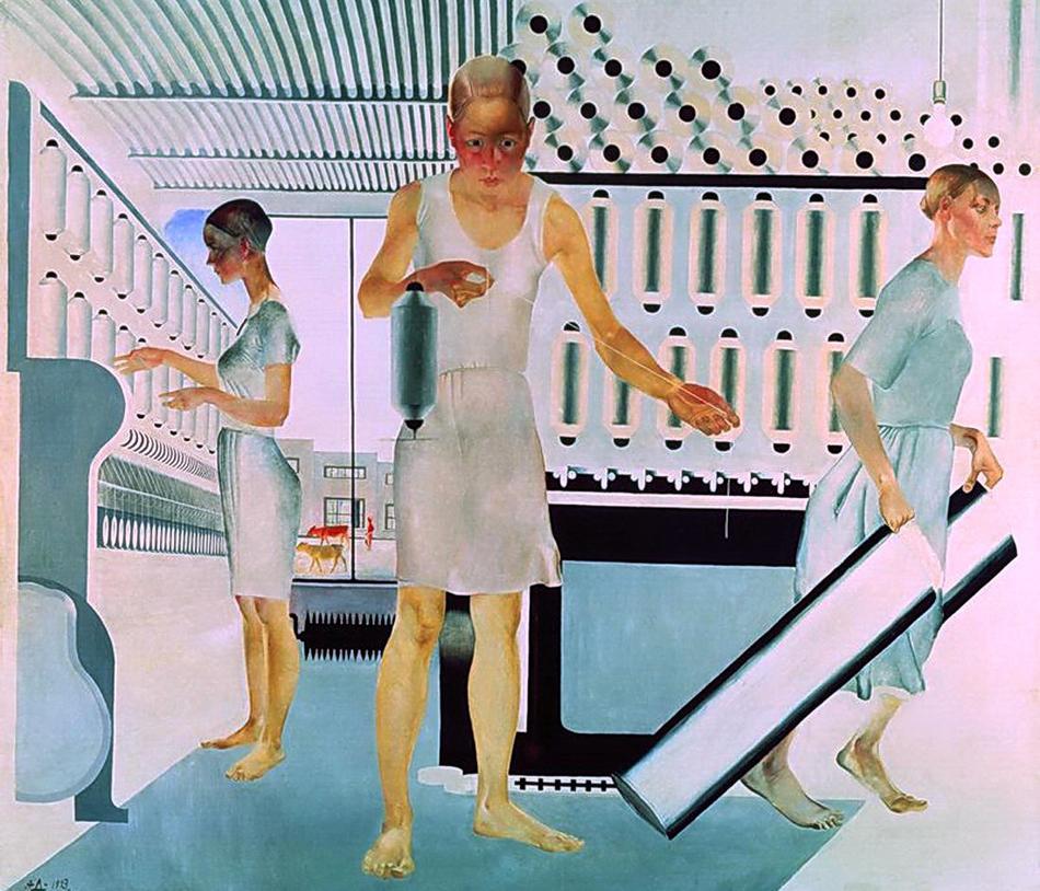 """В художествения свят на Дейнека обаче има и положителни герои: миньори, строителни работници, жени от пролетариата, спортисти. Като цяло той обръща голямо внимание на възхвалата на съветското ежедневие: масово производство, индустриализация, съвременен градски живот, физкултура и народен спорт. / """"Текстилни работнички"""", 1927 г."""