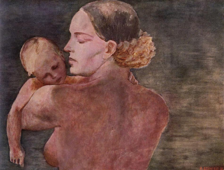 """1932 г. може да се смята за началото на нов етап в развитието на изкуството му. """"Майка"""", една от най-важните му картини, е създадена през тази година. Наричат я съветската версия на Мадоната. Цветовете на творбите му стават по-светли и по-меки, а портретите и пейзажите му са изпълнени с романтизъм и реализъм; в тях се появяват много женски образи. / """"Майка"""", 1932 г."""