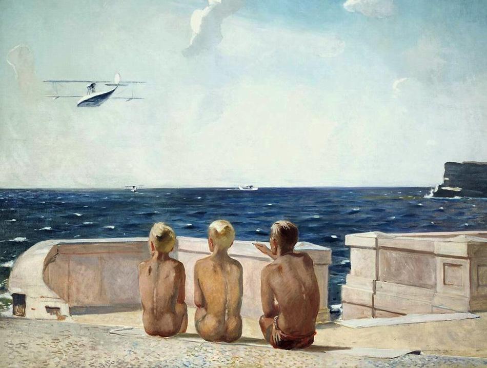 """През 1930-те художникът създава творби на авиационна тематика. Истински шедьовър в тази поредица е """"Бъдещи пилоти"""" (1937 г.), една от най-романтичните картини на Дейнека, на която трима юноши седят с гръб към зрителя и гледат замечтано отлитащ самолет."""