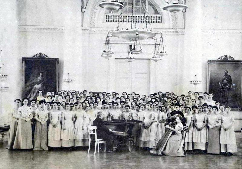 The remaining students were remarkably lucky, at least by revolutionary standards, since the institute's students, under the leadership of Grand Duchess Vera Golitsyna, were evacuated to Novocherkassk. There, in February 1919, the school's last graduation was held. In the summer of the same year, the teachers and remaining students fled Russia with the White Army and the institute was reestablished in Serbia. // Graduating class of 1889
