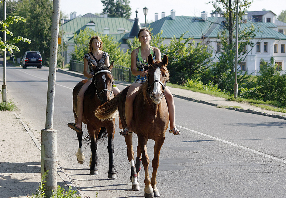 Suzdal is one of several cities, where you can get around safely on horseback or rent a bike.