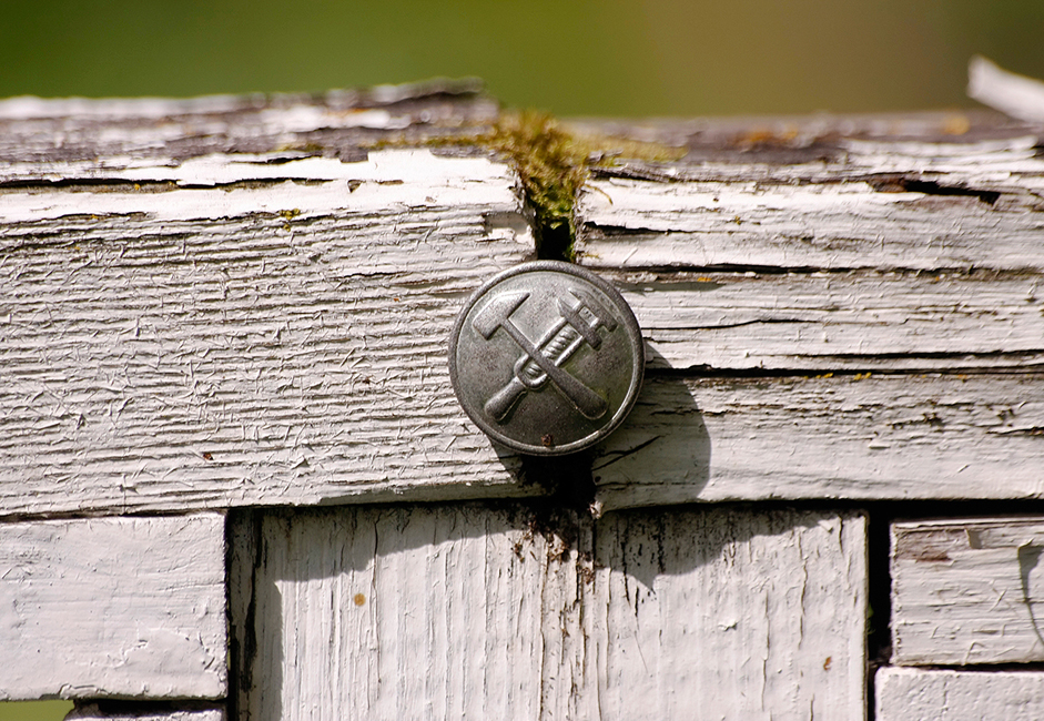 A button from an old engineer's uniform dating from the time of the 1917 Revolution. It found its way between these two wooden rails, giving life to this new moss and concluding the parade.