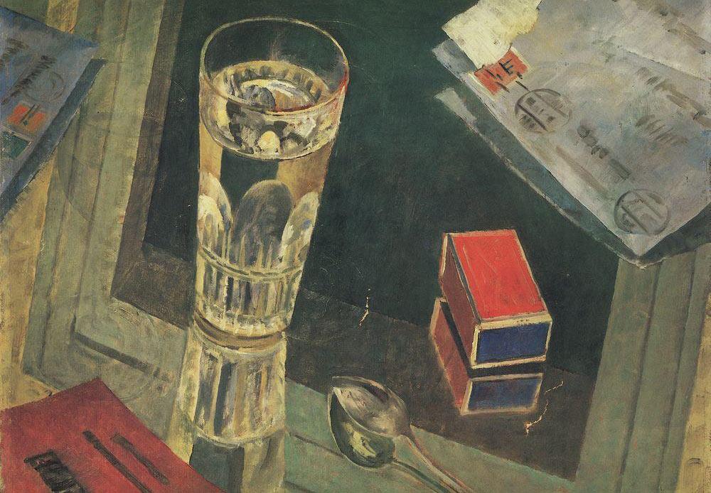 手紙の静物画、クズマ・ペトロフ=ヴォドキン、1925年
