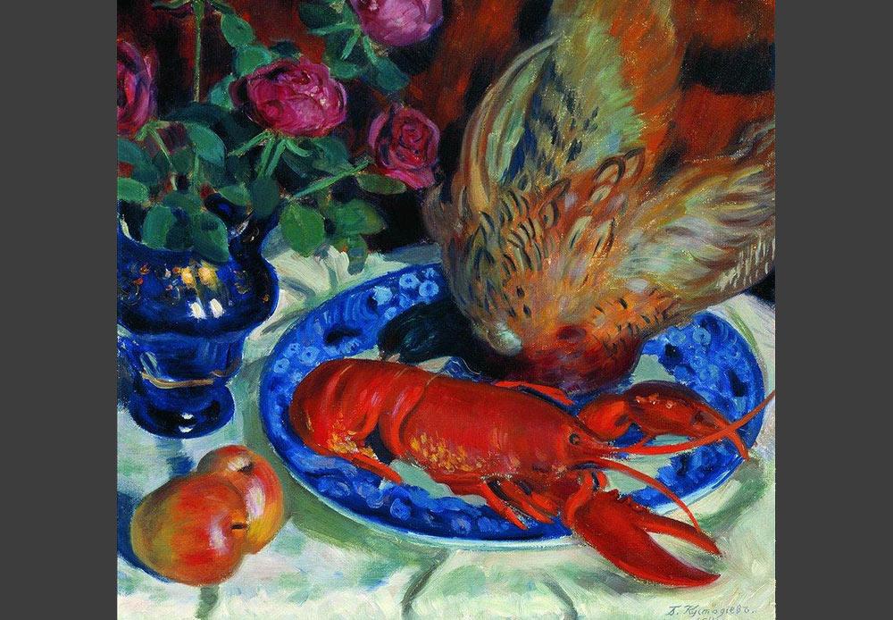 キジの静物画、ボリス・クストディエフ、1914年