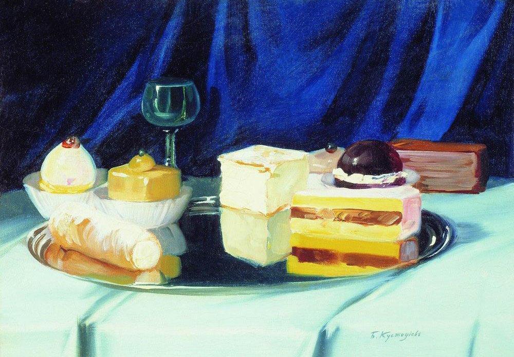 甘菓子の静物画、ボリス・クストディエフ