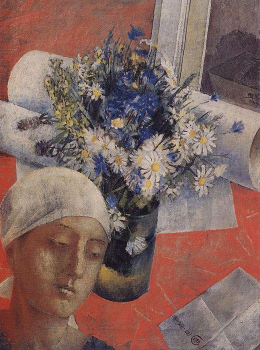 女性頭像の静物画、クズマ・ペトロフ=ヴォドキン、1921年